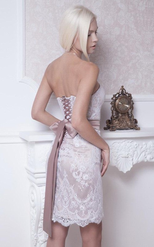Strapless Wedding Lace Fitted-Inspire Short Gown