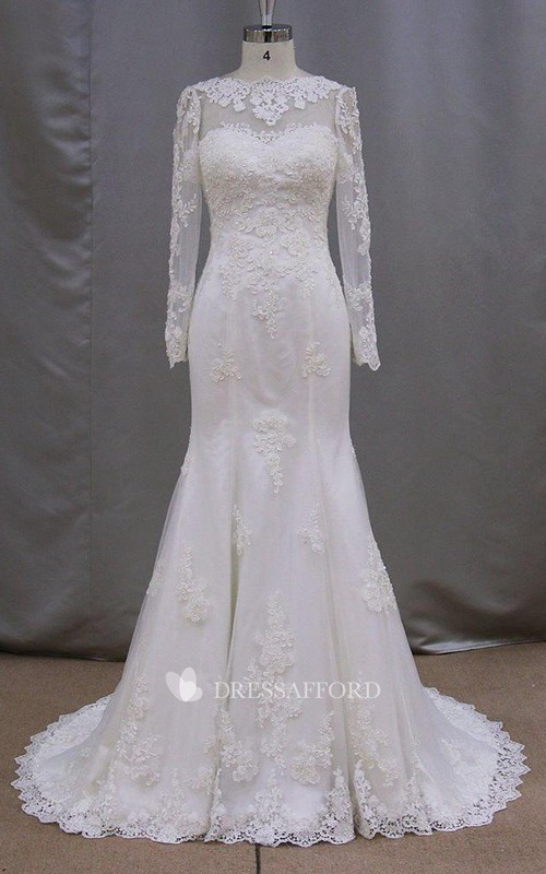 Long-Sleeve Mermaid High-Neckline Modest Bridal Lace Dress