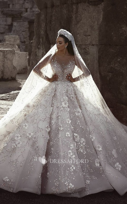 Luxury 3D Floral Illusion Long Sleeve Bridal Ballgown With Beading And Appliques