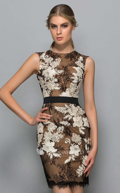 Sheath Short High Neck Sleeveless Lace Dress with Appliques