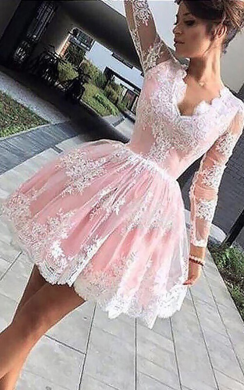 Long Sleeve A-line Ball Gown Short Mini Scalloped V-neck Pleats Ruching Lace Homecoming Dress