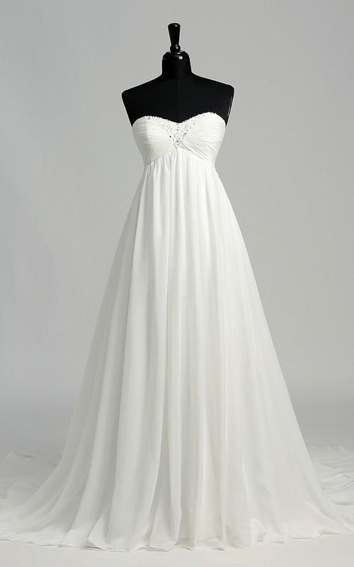 A-line Chiffon Sweetheart Court Train Sleeveless Wedding Dress with Beading and Pleats