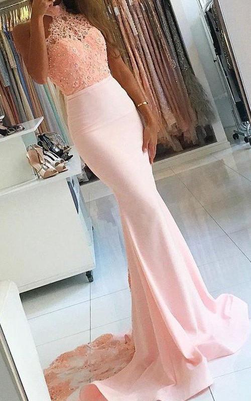 High Neck Satin Lace Sleeveless Sweep Brush Train Beading  Dress
