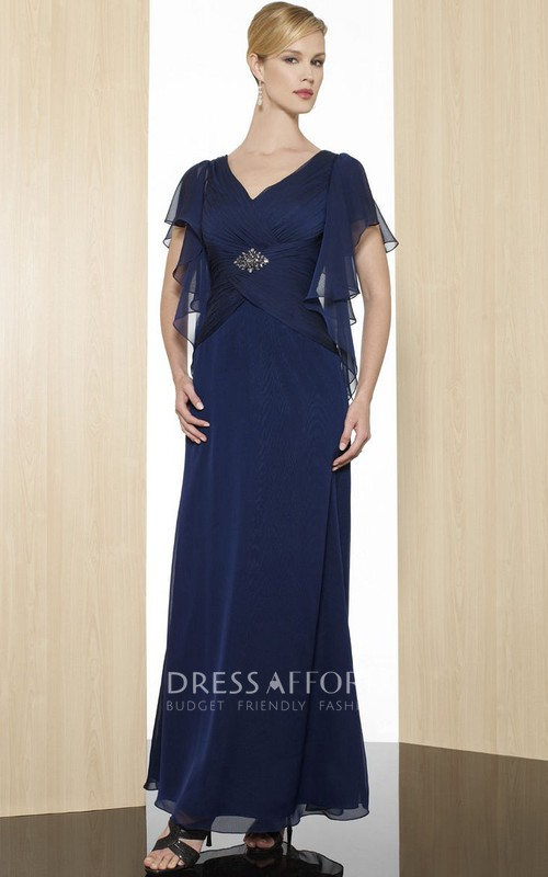 V-Neckline Low-V Back Formal Ruched Ankle-Length Sheath Chiffon Gown