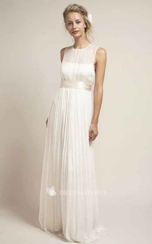 Ethereal Tulle Sleeveless Keyhole Wedding Dress with Sash