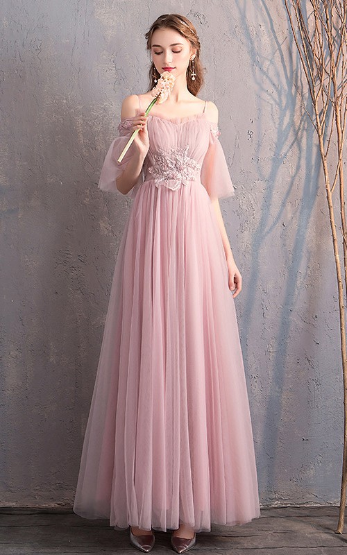 Off-the-shoulder Tulle Floor-length Prom Formal Dress With Appliques