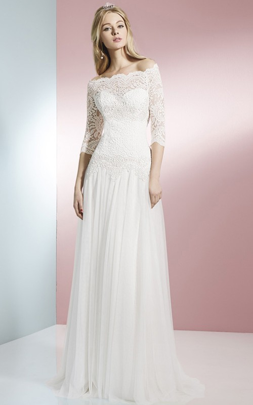 Off-the-shoulder Lace Long Sleeve Wedding Dress With Pleated skirt