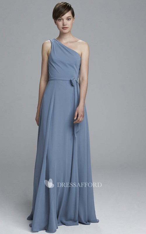 One-shoulder Chiffon Strapless Dress With Pleats