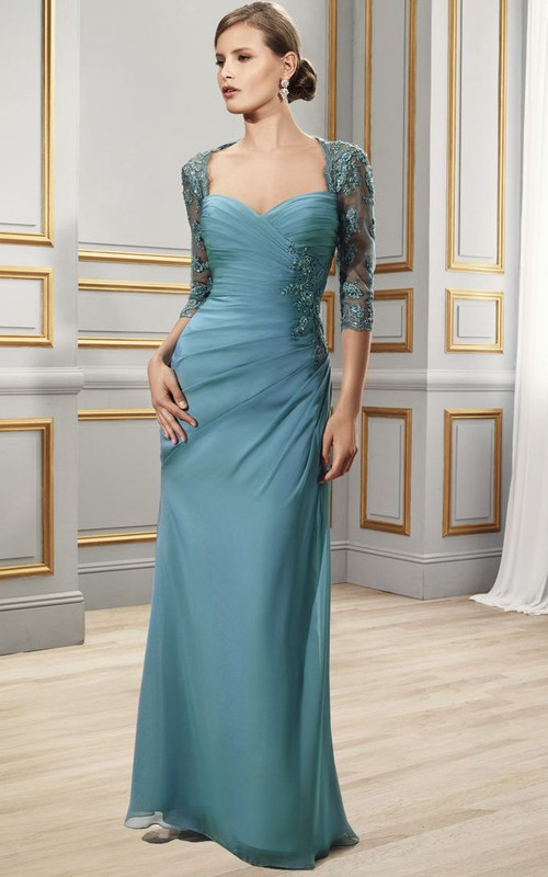 Sweetheart side-draped Sheath Dress With Illusion Lace 3-4 sleeves