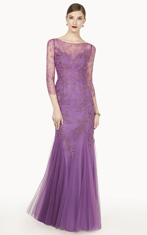 Bateau 3-4-sleeve Tulle Dress With Illusion And Appliques