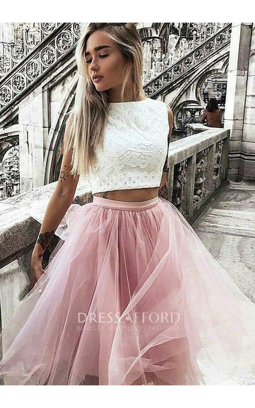 Sleeveless A-line Two Piece Knee-length High Neck Pleats Ruching Lace Tulle Homecoming Dress