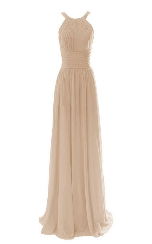 Floor-Length Ruched Waist Long High-Neckline Chiffon Gown
