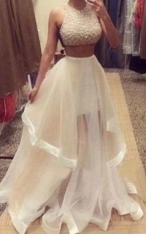Prom Jewels Ruffle Two-Pieces Halter Glamorous Dress