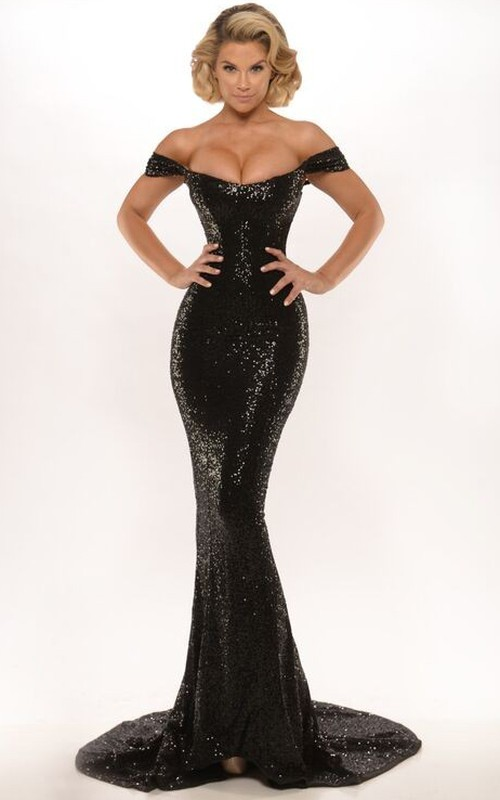 Off-the-shoulder Sequined Trumpet Evening Dress With Sweep Train