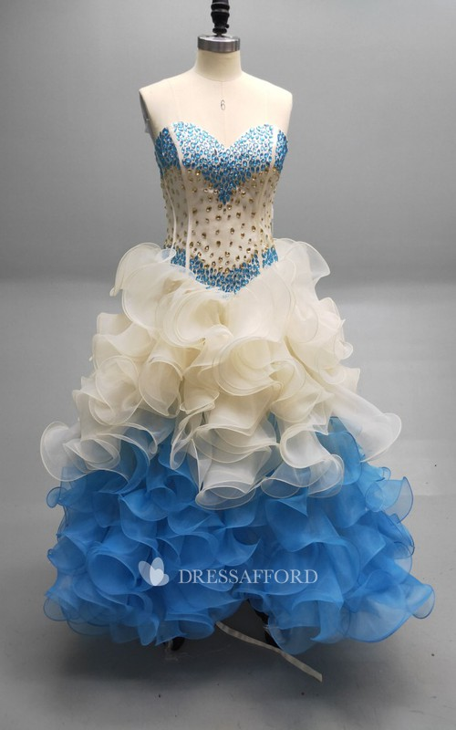 Sweetheart A Matching Collar Cascading Ruffled Strapless Ball Gown