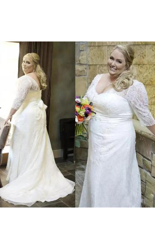 Elegant V Neck 3-4 Long Sleeves Lace Up Back Sash Plus Size Lace Wedding Dress