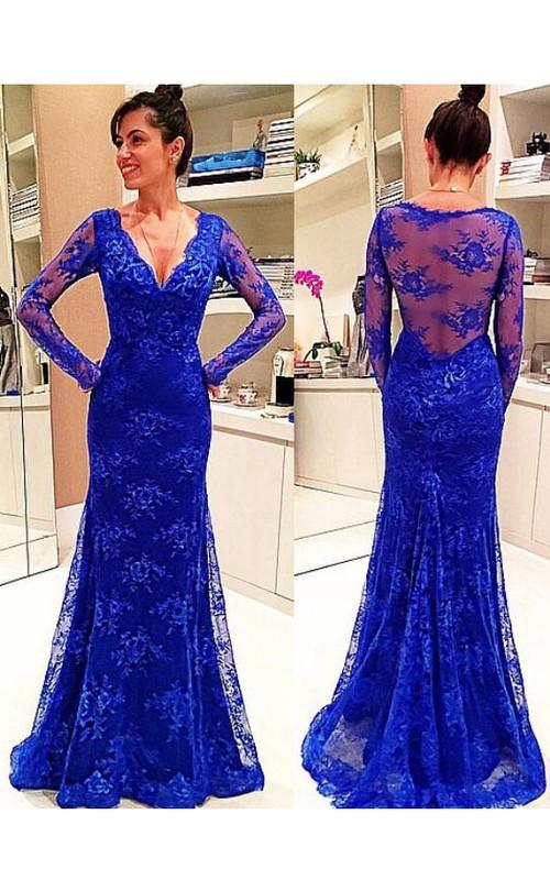 Lace Illusion Back V-Neckline Long-Sleeve Dress