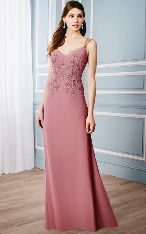 Jersey Illusion Back Sleeveless Appliqued Dress