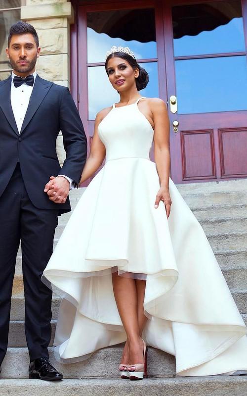 Halter Satin Organza  Sleeveless Wedding Dress