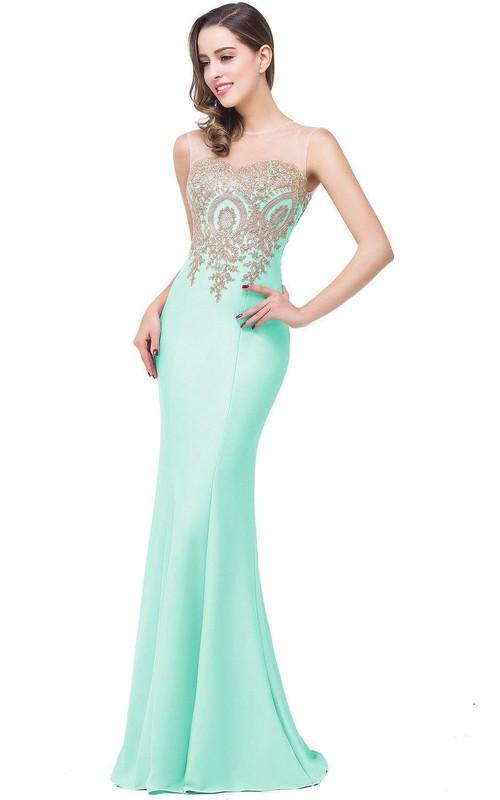 Mermaid Sleeveless Mermaid Satin Lace Appliqued Dress