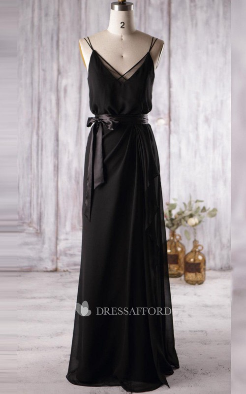 Floor-length Spaghetti Strapped V-neck Chiffon&Tulle Dress With Illusion