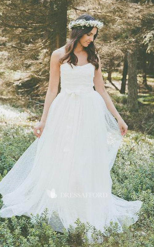 Wedding Lace Bow Strapless Country Gown