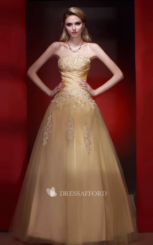 A-line Floor-length Strapless Tulle Dress with Appliques