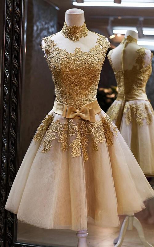 Golden Short High-Neckline Gorgeous Formal Tulle Dress