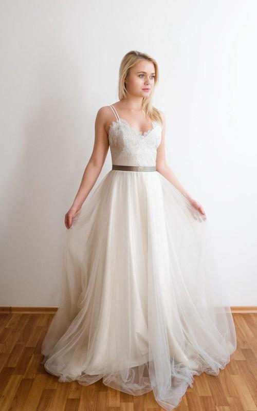Tulle Spaghetti Lace Top Floor-Length Romantic Dress