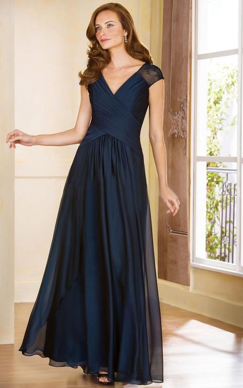 A-Line Crisscross Rucheds V-Neckline Cap-Sleeved Gown