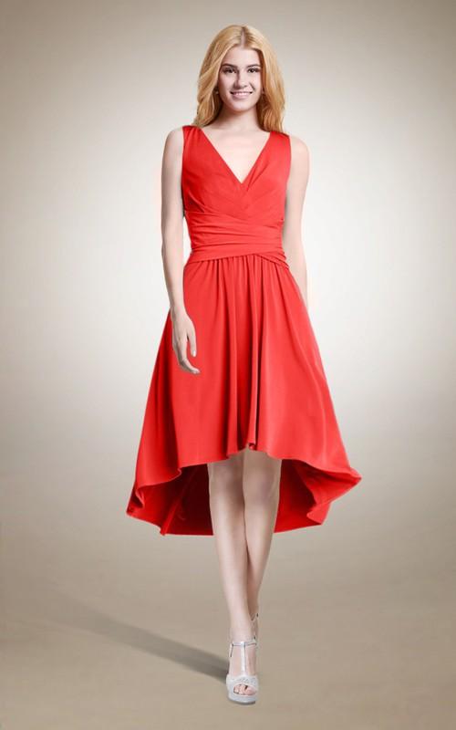 Plunged Sleeveless Chiffon High-low short Dress With Zipper