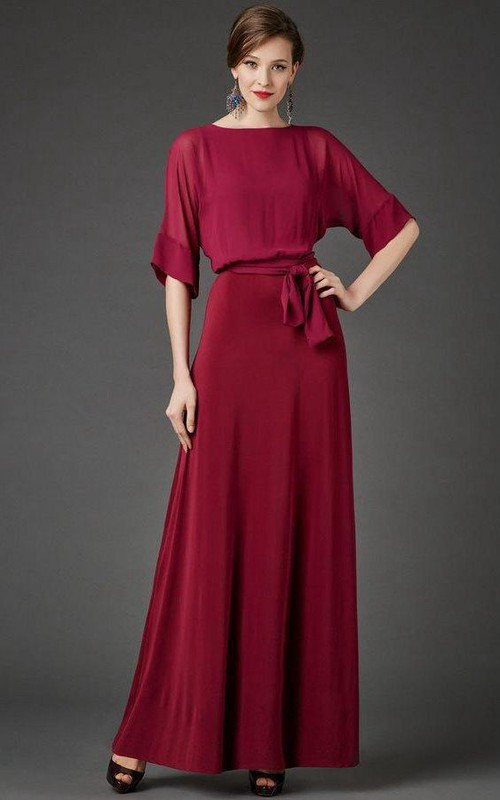 Chiffon Satin Sash Short-Sleeve Bateau-Neckline Dress