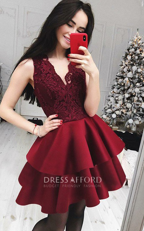 Sleeveless A-line Short Mini V-neck Ruffles Tiers Satin Lace Homecoming Dress