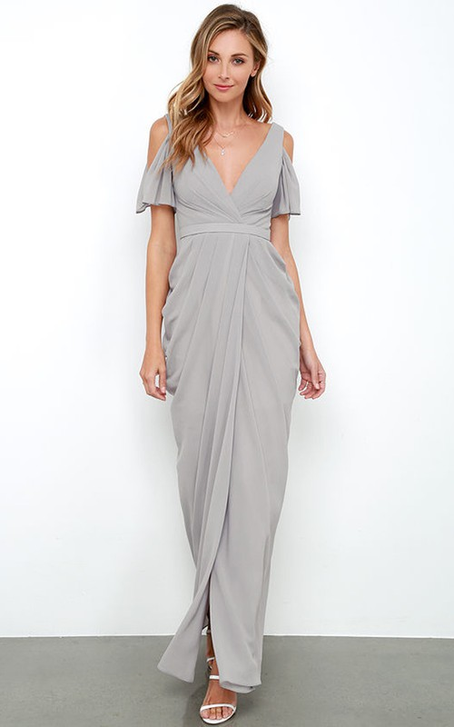 Pencil Strapped long Front-split Dress With Low-V Back