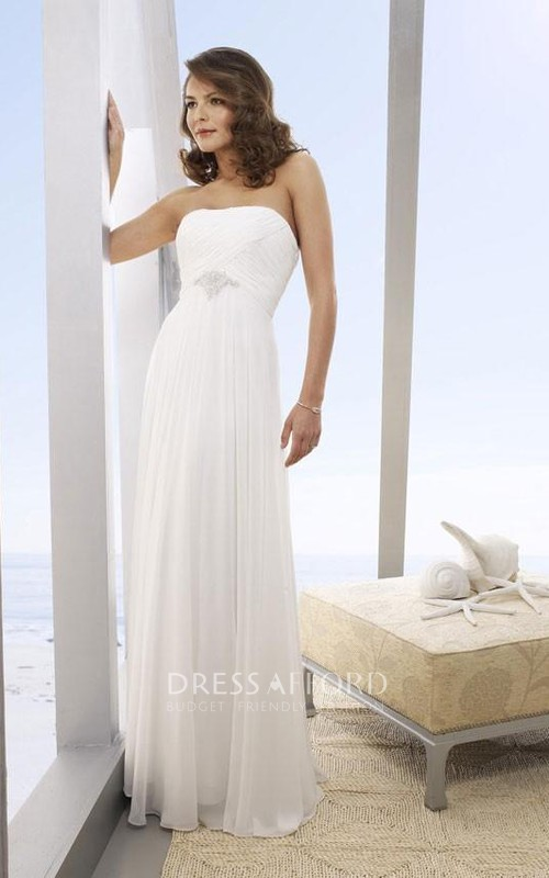Long Beach Strapless A-Line Bridal Chiffon Dress