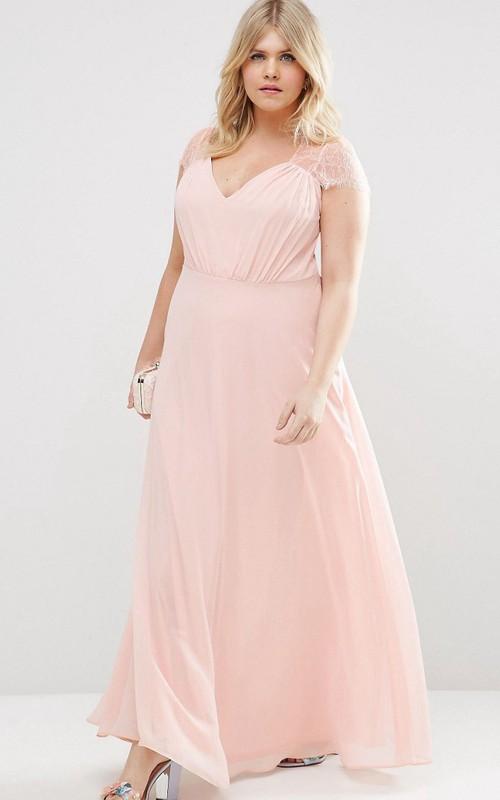 Chiffon V-neck cap-sleeve plus size Dress