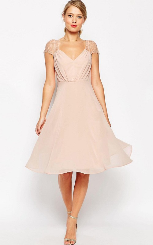 A-line Cap-sleeve Chiffon Dress With Ruching