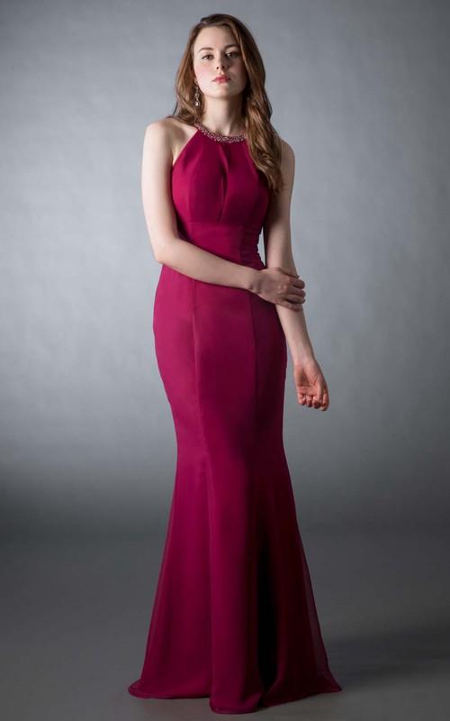 Mermaid Scoop Neck Sleeveless Beaded Chiffon Prom Dress