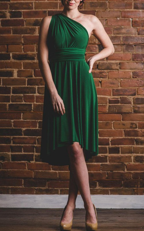 simple One-shoulder Sleeveless Knee-length Dress With Pleats