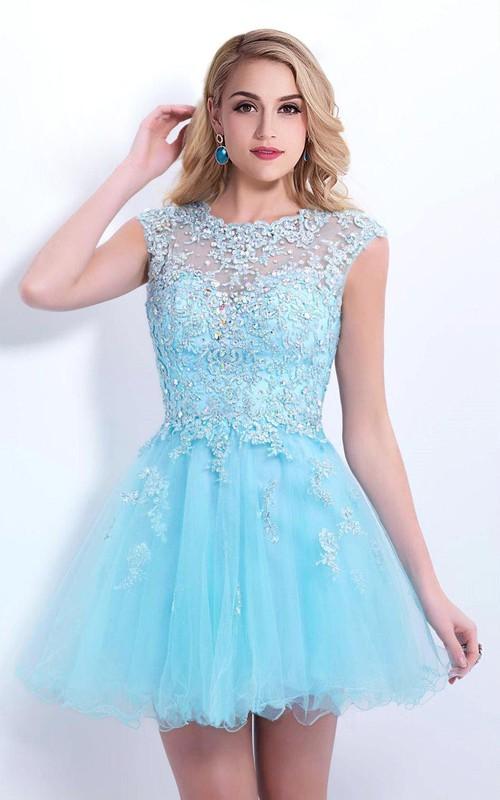 Tulle Lace Appliqued Sleeveless Elegant Dress