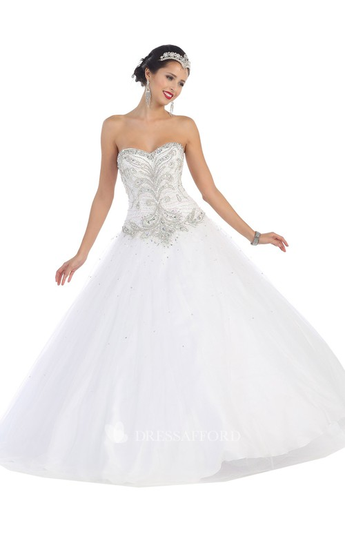 Full-Length Lace-Up-Back Jeweled Sweetheart Strapless Tulle Sleeveless Satin Ball Gown