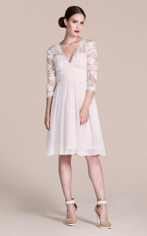 A-Line Bridal V-Neckline Long-Sleeved Short Dress