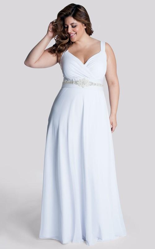 casual Strapped Chiffon Dress With Ruching And Jeweled Waist