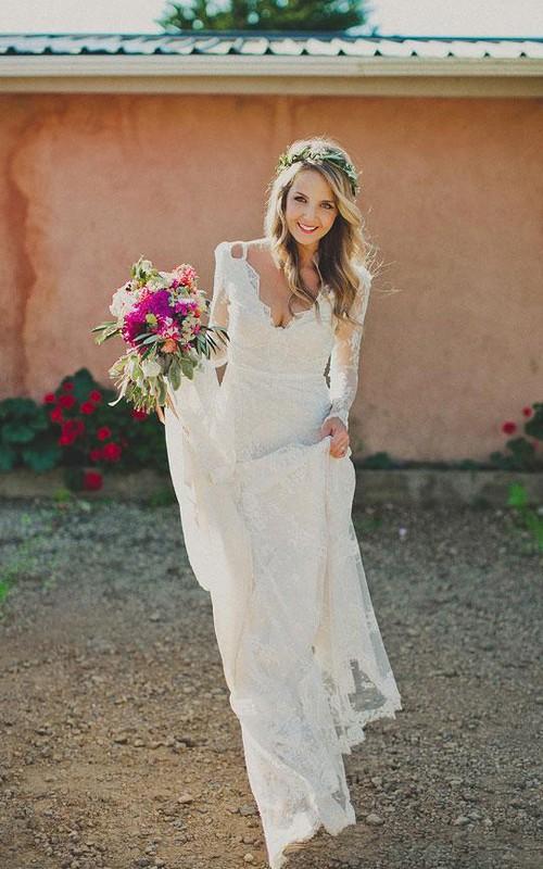 Sheath Short V-Neck Long Sleeve Bell Illusion Pleats Illusion Court Train Backless Illusion Lace Dress