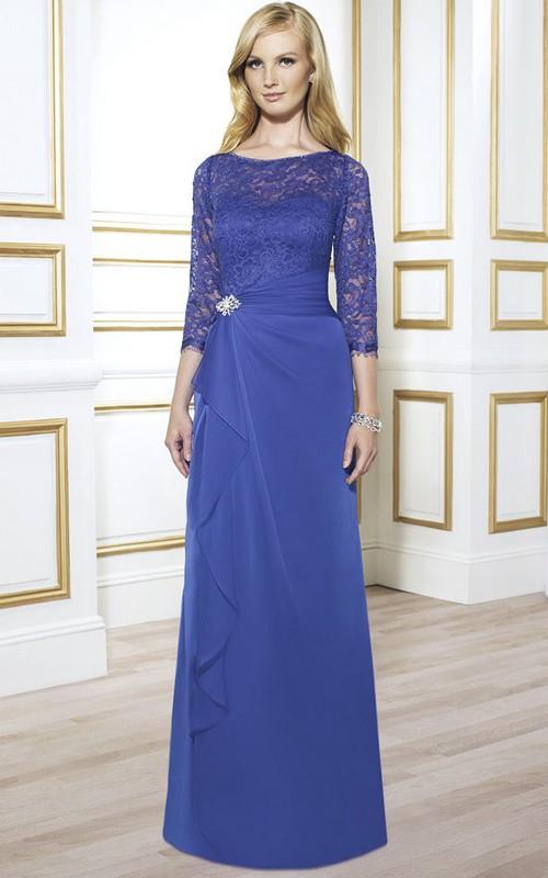 Chiffon Broach Draping Lace Long-Sleeve Gown