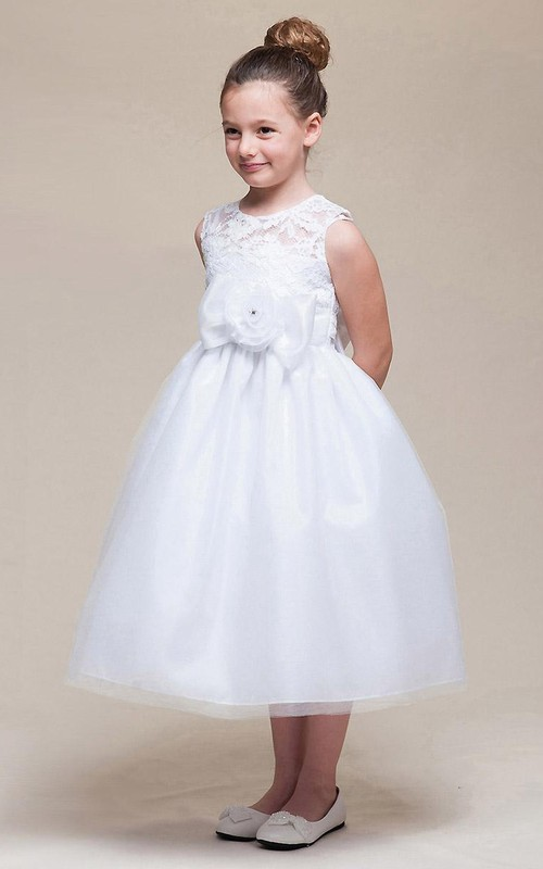 Floral Satin Ribbon Bowknot 3-4-Length Lace Flower Girl Dress