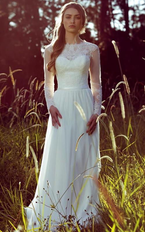 Jewel Neckline Illusion Long Sleeve Wedding Dress With Appliques