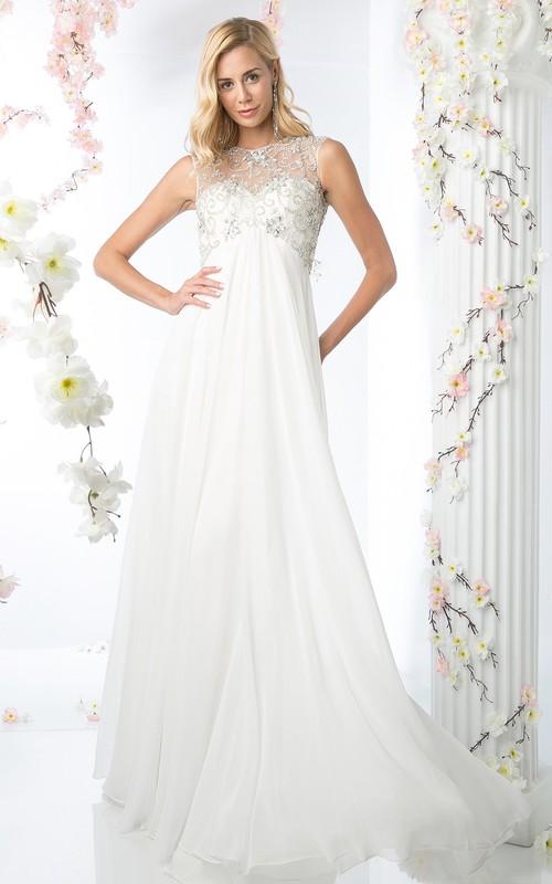 A-Line Beaded Jewel-Neck Sleeveless Chiffon High-Waist Keyhole Dress