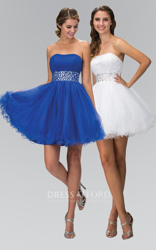A-Line Lace-Up Ruffles Jeweled Short Mini Sleeveless Strapless Tulle Dress