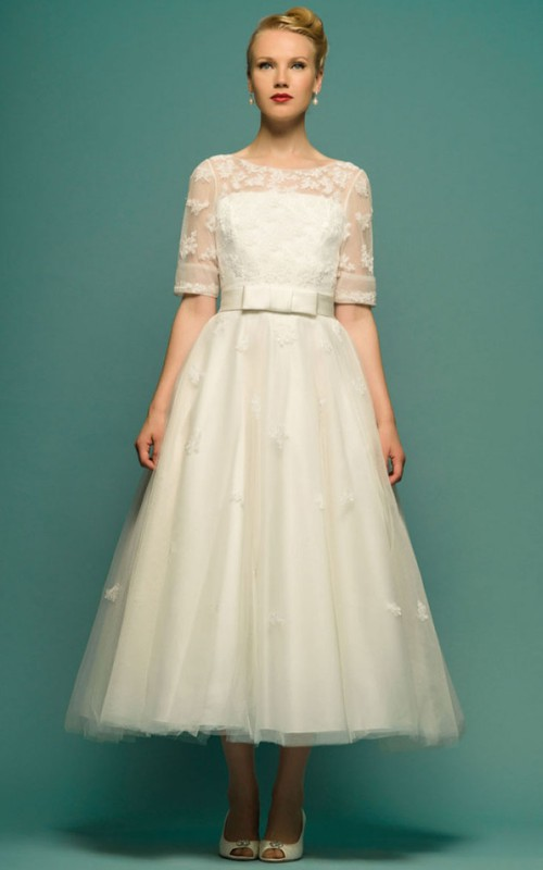 Scoop-neck Short Sleeve Tulle Tea-length Dress With Illusion And Low-V Back